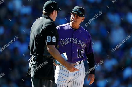 Chris conroy, Bud Black, chris conroy, bud black. Home plate umpire Chris Conroy, left, confers with Colorado Rockies manager Bud Black who makes a lineup change in the seventh inning of a baseball game against the Arizona Diamondbacks, in Denver