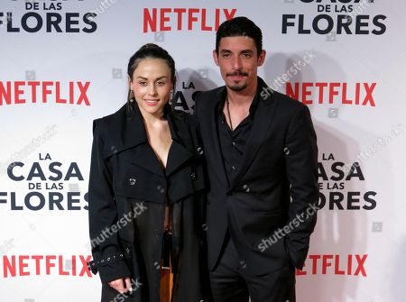 """Stock Image of Mexican actor Alberto Guerra, who stars in the Netflix series """"Ingobernable,"""" poses for photographers with his wife, actor Zuria Vega, at the red carpet event promoting another Netflix series, """"La Casa de Las Flores,"""" in Mexico City. """"Ingobernable"""" premieres its second season on September 14"""