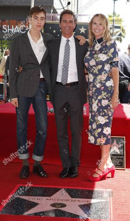 Canadian actor Eric McCormack (C) poses with his wife Janet Holden (R) and son Finnigan (L) during a ceremony honoring him with a star on the Hollywood Walk of Fame in Hollywood, California, USA, 13 September  2018. McCormack received the 2,644th star in the Television category.