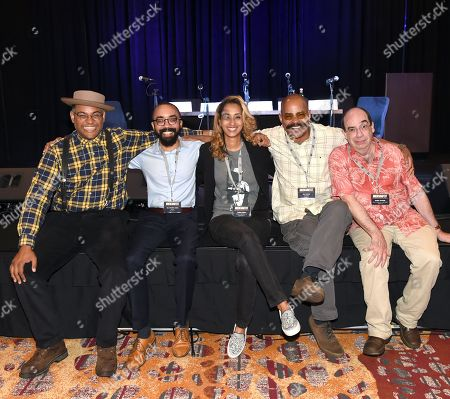 Stock Picture of Singer/Songwriters Dom Flemons, Steven Lewis, Terika Dean, Guy Davis with Journalist Barry Mazor