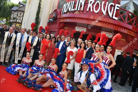 Stock Picture of Roland Mack, Frau Marianne, Tochter Ann-Kathrin, Sohn Thomas, Sohn Michael, Jean Jacquues, Jean Victor Clerico and Moulin Rouge dancers