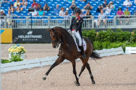 Stock Picture of Charlotte DUJARDIN (GBR) & MOUNT ST JOHN FREESTYLE - Dressage - Grand Prix Special - FEI World Equestrian Games- Tryon 2018 - Tryon, North Carolina, USA - 14 September 2018