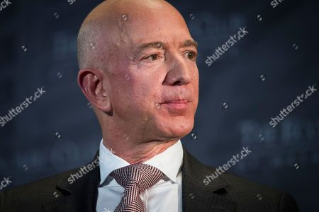 Stock Photo of Jeff Bezos, Amazon founder and CEO, speaks at The Economic Club of Washington's Milestone Celebration in Washington, . Bezos said that he is giving $2 billion to start the Bezos Day One Fund which will open preschools in low-income neighborhoods and give money to nonprofits that helps homeless families