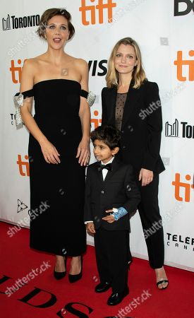 US actress and cast member Maggie Gyllenhaal (L), actor and cast member Parker Sevak (C) and US director Sara Colangelo (R) arrive for the screening of the movie 'The Kindergarten Teacher' during the 43rd annual Toronto International Film Festival (TIFF) in Toronto, Canada, 13 September 2018.
