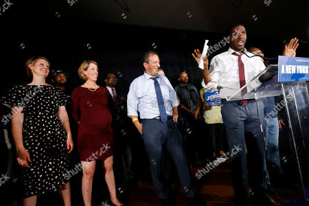 Jumaane Williams, Cynthia Nixon, Zephyr Teachout. From left, gubernatorial candidate Cynthia Nixon and state attorney general candidate Zephyr Teachout look on as candidate for Lt. Governor Jumaane Williams, right, delivers his concession speech at the Working Families Party primary night party, in New York