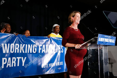 State attorney general candidate Zephyr Teachout delivers her concession speech at the Working Families Party primary night party, in New York