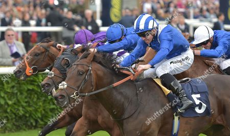 (R) Mustashry (Jim Crowley) wins The Alan Wood Plumbing and Heating Park Stakes from (2nd L) DBai (William Buick) and (L) Oh This Is Us (Ryan Moore).