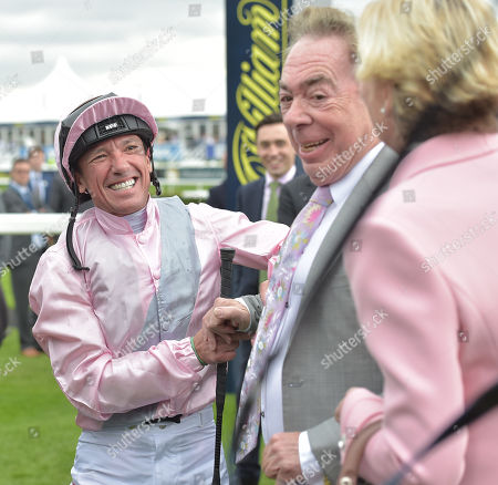 Frankie Dettori with Lord and Lady Lloyd-Webber after Too Darn Hot had won The Howcroft Industrial Supplies Champagne Stakes.