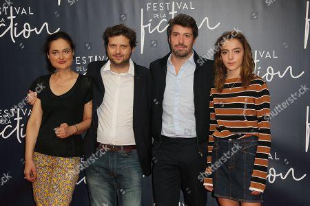 Garance Marillier (R) and the team of 'Ad Vitam' film