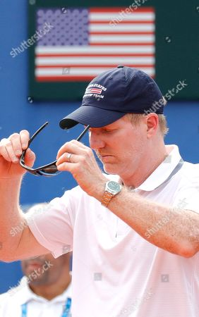 Head Coach  of USA, Jim Courier, reacts during the Davis Cup semi final tie between Croatia and the USA in Zadar, Croatia, 14 September 2018.