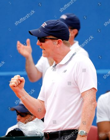 Team captain of the USA, Jim Courier, reacts  during the Davis Cup semi final tie between Croatia and the USA in Zadar, Croatia, 14 September 2018.