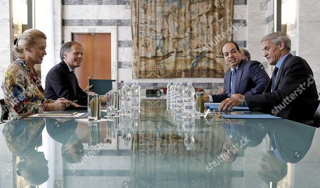 Italian Minister for Foreign Affairs Enzo Moavero Milanesi (2-L) with Deputy Prime Minister of Libya Ahmed Maiteeq (2-R) during their meeting in Rome, Italy, 14 September 2018.