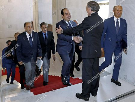 Italian Minister for Foreign Affairs Enzo Moavero Milanesi (2-R) welcomes Deputy Prime Minister of Libya Ahmed Maiteeq during their meeting in Rome, Italy, 14 September 2018.