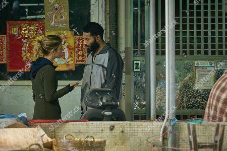 Stock Photo of Emilia Fox as Sally Porter and Ryan McKen as Faraz Reza.