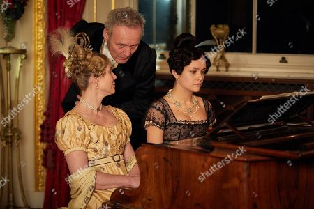 Olivia Cooke as Becky Sharp, Sally Phillips as Lady Steyne and Anthony Head as Lord Steyne.