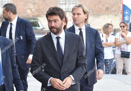 Czech retired soccer player Pavel Nedved (R) and Italian businessman and chairman of Italian soccer club Juventus F.C., Andrea Agnelli, arrive at a mass held in memory of Italian - Canadian businessman CEO of Fiat Chrysler Automobiles Sergio Marchionne in Turin, Italy, 14 September 2018. Marchionne died in Zurich on 25 July 2018.