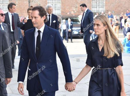 Stock Photo of President of FCA Italy John Elkann and his wife Lavinia arrive at a mass held in memory of Italian - Canadian businessman CEO of Fiat Chrysler Automobiles Sergio Marchionne in Turin, Italy, 14 September 2018. Marchionne died in Zurich on 25 July 2018.