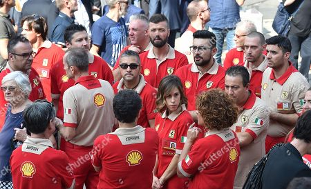 Ferrari workers gather at a mass held in memory of Italian - Canadian businessman CEO of Fiat Chrysler Automobiles Sergio Marchionne in Turin, Italy, 14 September 2018. Marchionne died in Zurich on 25 July 2018.