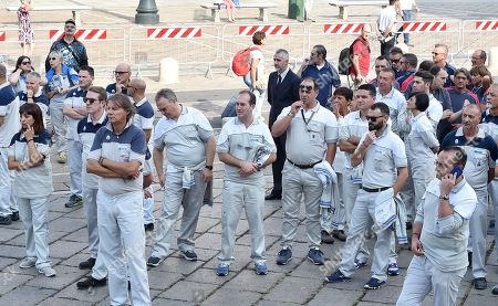 FCA Italy workers gather at a mass held in memory of Italian - Canadian businessman CEO of Fiat Chrysler Automobiles Sergio Marchionne in Turin, Italy, 14 September 2018. Marchionne died in Zurich on 25 July 2018.