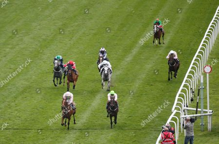 Stock Image of THOMAS HOBSON and Ryan Moore Win the Doncaster Cup Stakes (Group 2) (British Champions Series) second MAX DYNAMITE and Andrea Atzeni (both trained by Willie Mullins and owned by Mrs S Riccci) Doncaster Racecourse