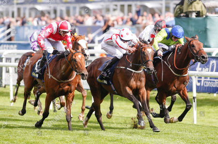 JUST IN TIME (centre) and Martin Haley Win the William Hill Mallard Handicap for trainer Alan King from AUSTRIAN SCHOOL (far) and Joe Fanning, and third THEGLASGOWWARRIOR (near) and Alistair Rawlinson Doncaster Racecourse