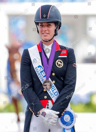 Bronze medalist Charlotte Dujardin of Britain reacts during the medals ceremony after placing third in the individual Dressage Grand Prix Special at the FEI World Equestrian Games 2018 at the Tryon International Equestrian Center in Mill Spring, North Carolina, USA, 14 September 2018. The World Equestrian Games continue through 23 September 2018.