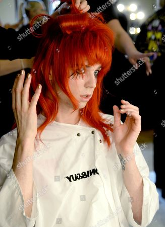 Editorial photo of Pam Hogg show, Backstage, Spring Summer 2019, London Fashion Week, UK - 14 Sep 2018
