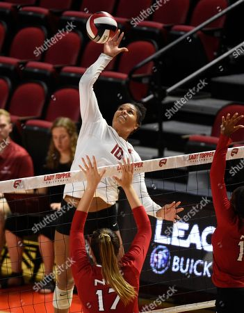 Stock Picture of , 2018Washington State Cougars Taylor Mims (10) spikes the ball past Northern Illinois Huskies Angie Gromos (17) in a match between the Northern Illinois Huskies and the Washington State Cougars at E.A. Diddle Arena in Bowling Green, KY. Photographer: Steve Roberts