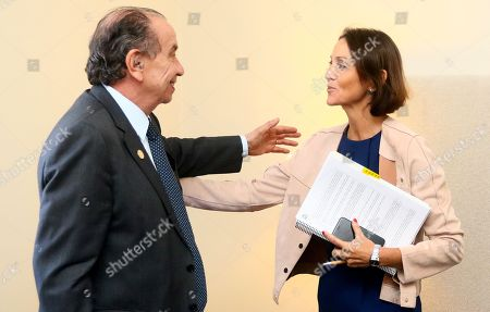 Minister of Industry, Commerce and Tourism of Spain, Reyes Maroto (R), speaks with Aloysio Nunes, Minister of Foreign Affairs of Brazil (L), during a meeting in the framework of the meeting of G20 trade leaders in Buenos Aires, Argentina, 14 September 2018. Trade and Investment Ministerial meeting of the G20 countries' agenda will discuss global value chains, the new industrial revolution and the current situation of international trade.