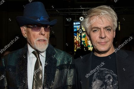 Stock Photo of Antony Price, Nick Rhodes. Designer Antony Price, left and Duran Duran band member Nick Rhodes pose for photographers prior to the Pam Hogg Spring/Summer 2019 runway show at London Fashion Week in London