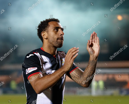 Anton Ferdinand of St. Mirren applauds the fans as he walks off the pitch after the final whistle.