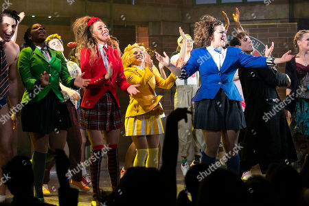 T'Shan Williams (Duke), Jodie Steele (Chandler), Sophie Isaacs (McNamara) and Carrie Hope Fletcher (Veronica Sawyer) during the curtain call