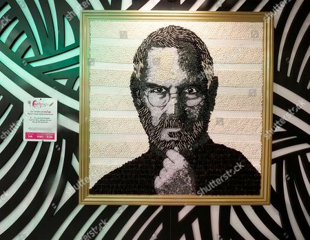 A portrait of Apple co-founder Steve Jobs made out of jelly beans and licorice candy on display at Candytopia, an interactive candy art installation of candy sculptures created by Los Angeles-based artist Jackie Sorkin on exhibit in a 16,000 square feet gallery in San Francisco, California, USA, 14 September 2018.