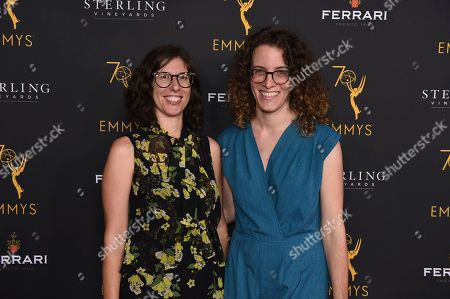 Carly Mensch and Liz Flahive attend the 2018 Producers Nominee Reception on in Beverly Hills, Calif