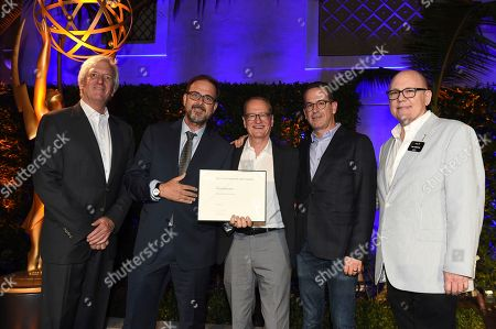John Ziffren, Chris Long, Darryl Frank, Stephen Schiff and Tim Gibbons attend the 2018 Producers Nominee Reception on in Beverly Hills, Calif