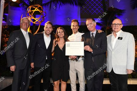 John Ziffren, Rob Crabbe, James Longman, Jeff Kopp and Tim Gibbons attend the 2018 Producers Nominee Reception on in Beverly Hills, Calif