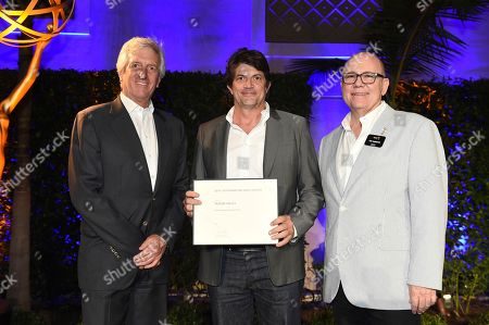 John Ziffren, Clay Tarver and Tim Gibbons attend the 2018 Producers Nominee Reception on in Beverly Hills, Calif
