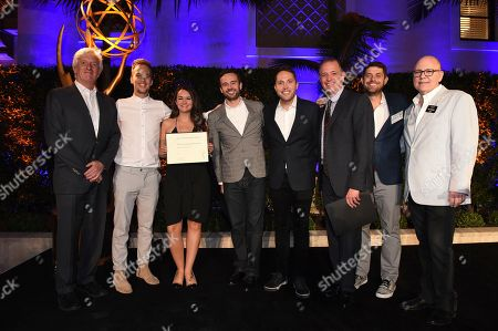 John Ziffren, Rob Crabbe, Adam Abramson, Ryan McKee, James Longman, Jeff Kopp and Tim Gibbons attend the 2018 Producers Nominee Reception on in Beverly Hills, Calif