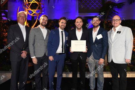 John Ziffren, Rob Crabbe, Adam Abramson, Ryan McKee, David Lamattina and Tim Gibbons attend the 2018 Producers Nominee Reception on in Beverly Hills, Calif