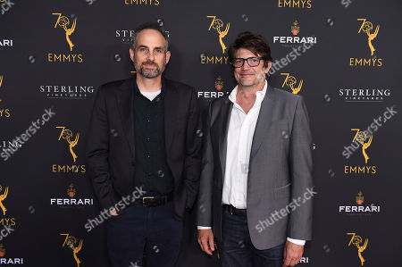 Stock Picture of Clay Tarver, right, and guest attend the 2018 Producers Nominee Reception on in Beverly Hills, Calif