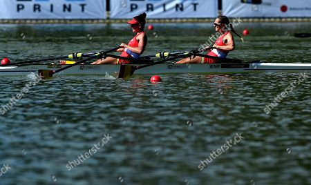 Rocio Lao Sanchez and Natalia Miguel Gomez from Spain compete in the Lightweight Womens Double Sculls final C\at the World Rowing Championship 2018 in Plovdiv, Bulgaria, 15 September 2018.