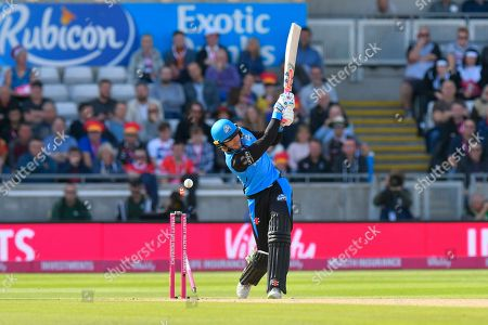 Wicket - Joe Clarke of Worcestershire is bowled by James Faulkner of Lancashire  during the Vitality T20 Finals Day Semi Final 2018 match between Worcestershire Rapids and Lancashire Lightning at Edgbaston, Birmingham
