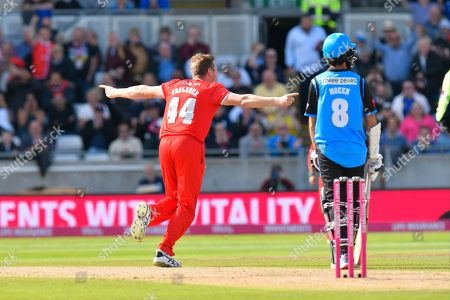 Wicket - James Faulkner of Lancashire celebrates taking the wicket of Joe Clarke of Worcestershire during the Vitality T20 Finals Day Semi Final 2018 match between Worcestershire Rapids and Lancashire Lightning at Edgbaston, Birmingham