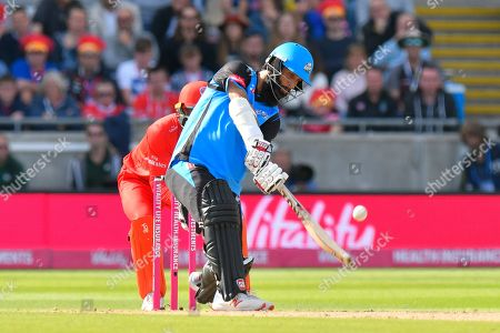 Moeen Ali of Worcestershire plays an attacking shot and is caught by James Faulkner of Lancashire off the bowling of Zahir Khan of Lancashire during the Vitality T20 Finals Day Semi Final 2018 match between Worcestershire Rapids and Lancashire Lightning at Edgbaston, Birmingham