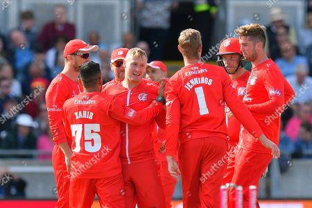 Wicket - Matt Parkinson of Lancashire celebrates taking the wicket of James Faulkner of Worcestershire during the Vitality T20 Finals Day Semi Final 2018 match between Worcestershire Rapids and Lancashire Lightning at Edgbaston, Birmingham