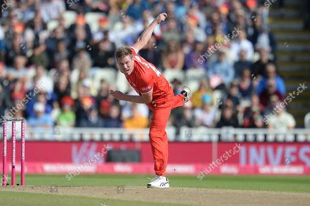 James Faulkner of Lancashire Lightning bowling during the Vitality T20 Finals Day Semi Final 2018 match between Worcestershire Rapids and Lancashire Lightning at Edgbaston, Birmingham