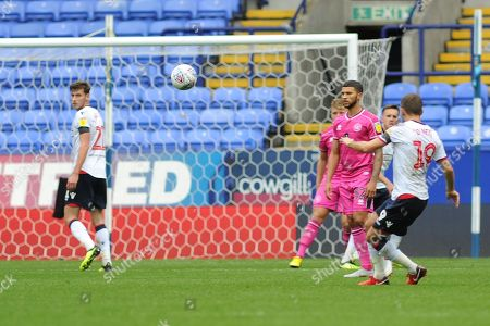 Bolton Wanderers Midfielder, Gary O'Neil (19) shoots  during the EFL Sky Bet Championship match between Bolton Wanderers and Queens Park Rangers at the Macron Stadium, Bolton