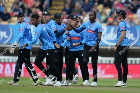 Jofra Archer and Sussex celebrate the wicket of Steven Davies during the Vitality T20 Finals Day semi final 2018 match between Sussex Sharks and Somerset County Cricket Club at Edgbaston, Birmingham
