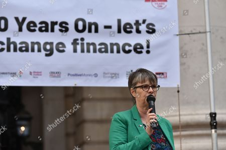 Molly Scott-Cato MEP. Protest opposite the Bank of England to commemorate the 10th anniversary of the collapse of Lehman Brothers bank and the start of the global financial crisis.