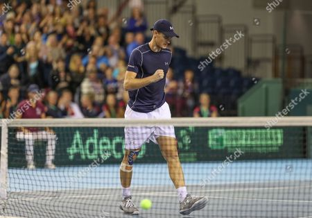 Jamie Murray celebrates point to win 2nd set   with Dominic Inglot playing Sanjar Fayziev and Denis Istomin  in the Doubles